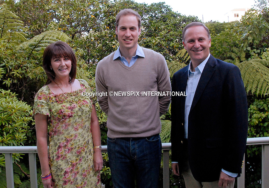 """***Exclusive - Minimun Fee Applies ***.                              Must telephone +441279 324672        or .  e-mail:info@newspix international.co.uk for reproduction fees and usage..PRINCE WILLIAM JOINS NEW ZELAND'S PRIME MINISTER JOHN KEY AND WIFE BRONAGH.for a private moment on the balcony of their residence..Prince William attended the Prime Minister's BBQ at the PM's residence..The Prince was greeted by the Prime Minister John Key and his wife Bronagh, after which the Prince and the Prime Minister with the aid of Ruth Pretty (caterer) cooked some beef and sausages on the BBQ whilst drinking a beer. Prime Minister's residence, Wellington, New Zealand.Mandatory Credit Photo: ©Woolf-NEWSPIX INTERNATIONAL..**ALL FEES PAYABLE TO: """"NEWSPIX INTERNATIONAL""""**..IMMEDIATE CONFIRMATION OF USAGE REQUIRED:.Newspix International, 31 Chinnery Hill, Bishop's Stortford, ENGLAND CM23 3PS.Tel:+441279 324672  ; Fax: +441279656877.Mobile:  07775681153.e-mail: info@newspixinternational.co.uk"""
