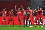 06.11.2019, BayArena, Leverkusen, GER, CL, Bayer 04 Leverkusen vs Atletico Madrid, UEFA regulations prohibit any use of photographs as image sequences and/or quasi-video <br /> <br /> im Bild die Mannschaft von Leverkusen Jubel / Freude / Emotion / Torjubel / Torschuetze zum 1:0 Eigentor Thomas Partey (#5, Atletico Madrid) <br /> <br /> Foto © nordphoto/Mauelshagen
