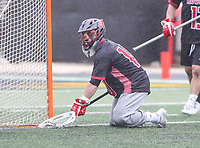 College Park, MD - April 15, 2018: Rutgers Scarlet Knights Max Edelmann (10) makes a save during game between Rutgers and Maryland at  Capital One Field at Maryland Stadium in College Park, MD.  (Photo by Elliott Brown/Media Images International)