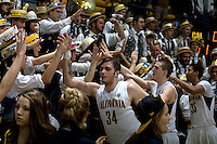 Robert Thurman of California celebrates with the fans after winning the game against Oregon State Beavers at Haas Pavilion in Berkeley, California on January 31st, 2013.  California defeated Oregon State, 71-68.