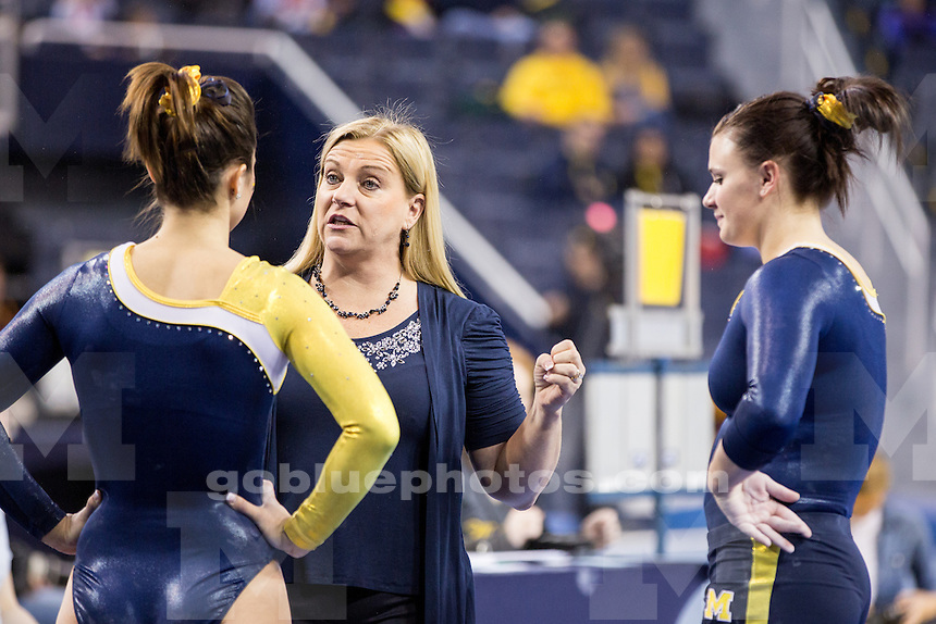 The University of Michigan women's gymnastics team defeats Central Michigan University, 196.550-193.100, in exhibition play at Crisler Center in Ann Arbor, Mich. on December 8, 2013.