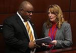 Nevada Assembly Democrats Jason Frierson and Marilyn Kirkpatrick work on the Assembly floor at the Legislative Building in Carson City, Nev., on Tuesday, Feb. 26, 2013..Photo by Cathleen Allison