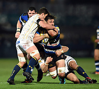 Elliott Stooke of Bath Rugby is double-tackled. Aviva Premiership match, between Worcester Warriors and Bath Rugby on January 5, 2018 at Sixways Stadium in Worcester, England. Photo by: Patrick Khachfe / Onside Images