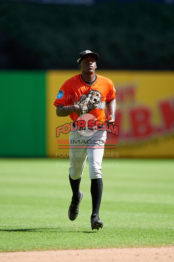 Miami Marlins Milton Smith (72) jogs off the field between innings during a Florida Instructional League game against the Washington Nationals on September 26, 2018 at the Marlins Park in Miami, Florida.  (Mike Janes/Four Seam Images)