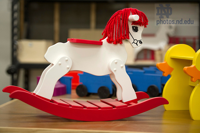 Apr. 14, 2015;  Wooden Rocking Horse built at South Bend Woodworks. (Photo by Barbara Johnston/University of Notre Dame)