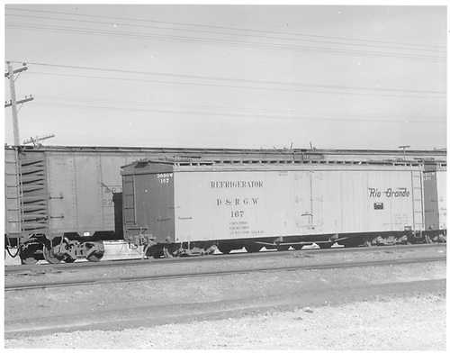 Long reefer #167 in Alamosa with ART Steeler reefer behind it.<br /> D&amp;RGW  Alamosa, CO  Taken by Richardson, Robert W. - 1/1950