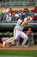 Carmen Benedetti (43) of the Michigan Wolverines bats during a 2015 Big Ten Conference Tournament game between the Michigan Wolverines and Indiana Hoosiers at Target Field on May 20, 2015 in Minneapolis, Minnesota. (Brace Hemmelgarn/Four Seam Images)