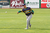 Beloit Snappers infielder Yairo Munoz (13) warms up prior to a Midwest League game against the Wisconsin Timber Rattlers on May 30th, 2015 at Fox Cities Stadium in Appleton, Wisconsin. Wisconsin defeated Beloit 5-3 in the completion of a game originally started on May 29th before being suspended by rain with the score tied 3-3 in the sixth inning. (Brad Krause/Four Seam Images)