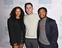 SAN RAFAEL, CA - OCTOBER 09: Taylor Russell, Trey Edward Shults and Kelvin Harrison Jr. arrive at the Centerpiece Film 'Waves' during the 42nd Mill Valley Film Festival at Christopher B. Smith Rafael Film Center on October 9, 2019 in San Rafael, California. Photo: imageSPACE for the Mill Valley Film Festival/MediaPunch