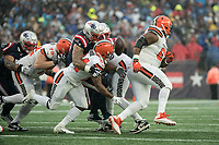 FOXBOROUGH, MA - OCTOBER 27: New England Patriots Defensive back Jonathan Jones #31 tackles New England Patriots Cornerback Stephon Gilmore #24 who fumbles the ball during a game between Cleveland Browns and New Enlgand Patriots at Gillettes on October 27, 2019 in Foxborough, Massachusetts.