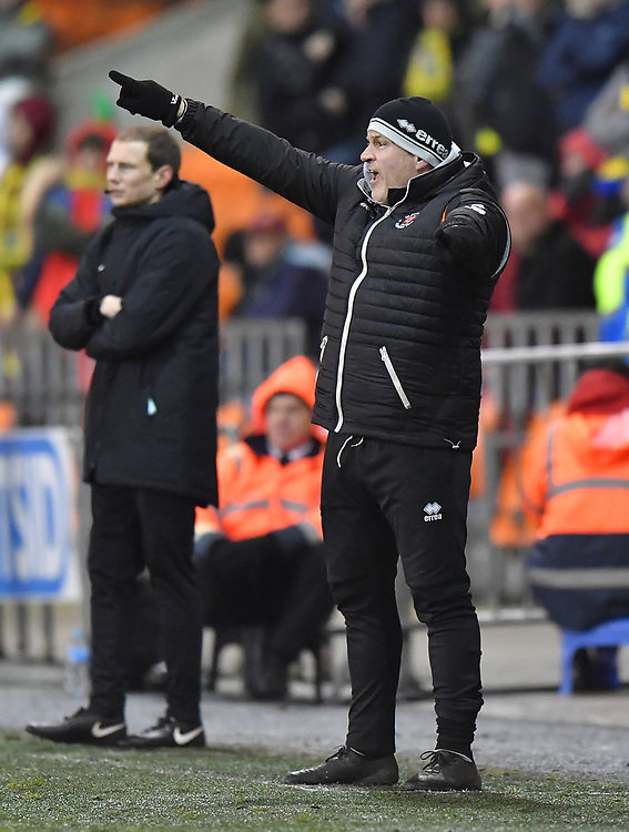 Blackpool's Manager Terry McPhillips Shouts to his team during the game<br /> <br /> Photographer Dave Howarth/CameraSport<br /> <br /> The Emirates FA Cup Second Round Replay - Blackpool v Solihull Moors - Tuesday 18th December 2018 - Bloomfield Road - Blackpool<br />  <br /> World Copyright © 2018 CameraSport. All rights reserved. 43 Linden Ave. Countesthorpe. Leicester. England. LE8 5PG - Tel: +44 (0) 116 277 4147 - admin@camerasport.com - www.camerasport.com