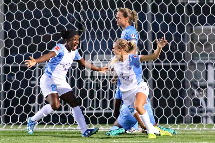 Piscataway, NJ - Wednesday June 28, 2017: Jasmyne Spencer, Rachel Hill during a regular season National Women's Soccer League (NWSL) match between Sky Blue FC and the Orlando Pride at Yurcak Field.