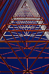 TV tower,  looking up through center with geometrical abstract patterns, Queen Anne Hill, Seattle, Washington State USA