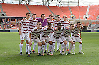Houston, TX - Friday December 11, 2016: The Stanford Cardinal Starting XI at the NCAA Men's Soccer Finals at BBVA Compass Stadium in Houston Texas.