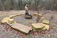 NWA Democrat-Gazette/FLIP PUTTHOFF <br /> Joe Pearson shows      March 2019    a campfire ring in a campsite area.