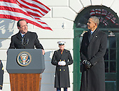 President Francois Hollande of France makes remarks as United States President Barack Obama listens during the State Arrival ceremony on the South Lawn of the White House in Washington, D.C. on Tuesday, February 11, 2014.<br /> Credit: Ron Sachs / CNP