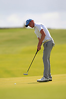 Robert Brazill (Naas) on the 1st green during the Final of the AIG Irish Amateur Close Championship 2019 in Ballybunion Golf Club, Ballybunion, Co. Kerry on Wednesday 7th August 2019.<br /> <br /> Picture:  Thos Caffrey / www.golffile.ie<br /> <br /> All photos usage must carry mandatory copyright credit (© Golffile | Thos Caffrey)