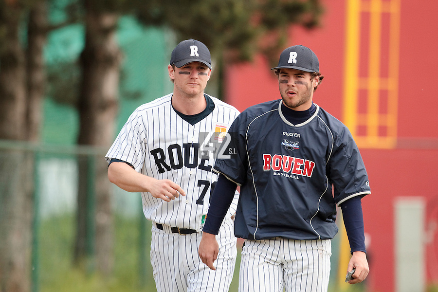 04 June 2010: Quentin Benedek of Rouen is seen next to Aaron Hornostaj prior to the 2010 Baseball European Cup match won  20-7 by Heidenheim Heidekopfe over the Rouen Huskies, at the Kravi Hora ballpark, in Brno, Czech Republic.