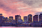Sunset over Boston Harbor, Boston, MA, USA