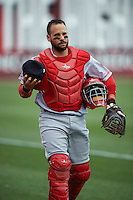 Louisville Bats catcher Raffy Lopez (9) before a game against the Buffalo Bisons on June 20, 2016 at Coca-Cola Field in Buffalo, New York.  Louisville defeated Buffalo 4-1.  (Mike Janes/Four Seam Images)