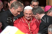 Pope Benedioct XVI is welcome by local bishops as he arrives to Brindisi's Cathedral  Cardinal Salvatore De Giorgi,..June 15, 2008. ..