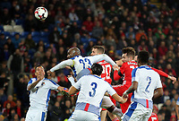 Tom Bradshaw of Wales (2nd R) heads the bal off target during the international friendly soccer match between Wales and Panama at Cardiff City Stadium, Cardiff, Wales, UK. Tuesday 14 November 2017.
