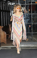 www.acepixs.com<br /> <br /> July 17 2017, New York City<br /> <br /> Singer and actress Rita Ora wears a stripey dress with tassles as she leaves a downtown hotel on July 17 2017 in New York City<br /> <br /> By Line: Philip Vaughan/ACE Pictures<br /> <br /> <br /> ACE Pictures Inc<br /> Tel: 6467670430<br /> Email: info@acepixs.com<br /> www.acepixs.com