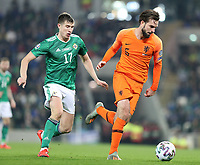 16th November 2019; Windsor Park, Belfast, County Antrim, Northern Ireland; European Championships 2020 Qualifier, Northern Ireland versus Netherlands; Netherland's Davy Propper defends the ball against Paddy McNair of Northern Ireland  - Editorial Use