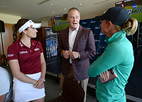 NWA Democrat-Gazette/ANDY SHUPE<br /> Hunter Yurachek (center), director of athletics at the University of Arkansas, speaks Tuesday, April 9, 2019, with former Arkansas and current professional golfers Gaby Lopez (left) and Stacy Lewis during a press conference to announce the details of the NCAA Men's and Women's Golf Nation Championship at Blessings Golf Club in Johnson.