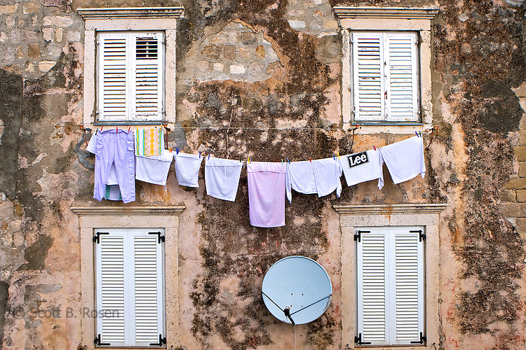 Clothes drying on a line in Dubrovnik's old city (Stari Grad), Croatia