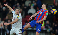 Burnley's Sam Vokes vies for possession with Crystal Palace's Martin Kelly<br /> <br /> Photographer Ashley Crowden/CameraSport<br /> <br /> The Premier League - Crystal Palace v Burnley - Saturday 13th January 2018 - Selhurst Park - London<br /> <br /> World Copyright &copy; 2018 CameraSport. All rights reserved. 43 Linden Ave. Countesthorpe. Leicester. England. LE8 5PG - Tel: +44 (0) 116 277 4147 - admin@camerasport.com - www.camerasport.com