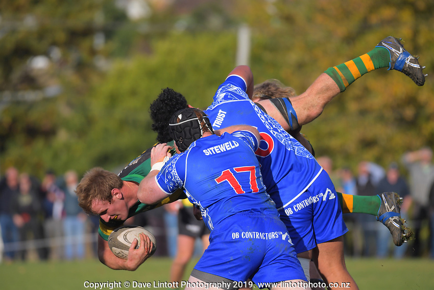 Action from the Otago premier rugby match between Green Island and Harbour at Miller Park in Dunedin, New Zealand on Saturday, 11 May 2019. Photo: Dave Lintott / lintottphoto.co.nz