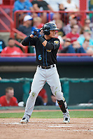 Akron RubberDucks shortstop Yu-Cheng Chang (6) at bat during a game against the Erie SeaWolves on August 27, 2017 at UPMC Park in Erie, Pennsylvania.  Akron defeated Erie 6-4.  (Mike Janes/Four Seam Images)