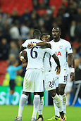 13th September 2017, Wembley Stadium, London, England; Champions League Group stage, Tottenham Hotspur versus Borussia Dortmund; Serge Aurier of Tottenham Hotspur and David Sanchez of Tottenham Hotspur celebrate the 3-1 win