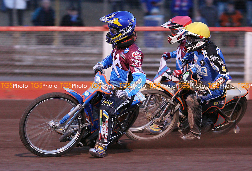 Heat 8: Daniel Davidsson (blue), Gary Havelock (yellow) and Paul Hurry (red) - Lakeside Hammers vs Poole Pirates, Elite League Speedway at the Arena Essex Raceway, Purfleet - 14/05/10 - MANDATORY CREDIT: Rob Newell/TGSPHOTO - Self billing applies where appropriate - 0845 094 6026 - contact@tgsphoto.co.uk - NO UNPAID USE.