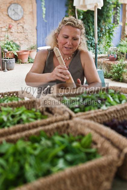 Europe/France/Provence-Alpes-Côte d'Azur/84/Vaucluse/Lubéron/Roussillon: Catherine Pisani prépare le pistou avec ses basilics - La Ferme aux Basilics [Autorisation : 2011-123]