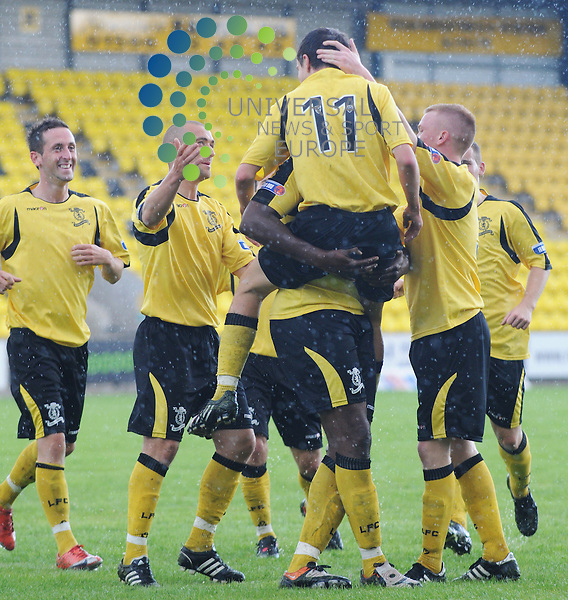 Livingston v Montrose.Irn Bru SFL Div 3.15/09/2009 - Almondvale Stadium, Livingston..Livi players congratulate Andrew Halliday (11) after opening the scoring in this afternoons tie. ..Picture by Steven Carrie.