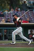 Chris Mariscal (3) of the Modesto Nuts bats against the Inland Empire 66ers at San Manuel Stadium on June 2, 2017 in San Bernardino, California. Inland Empire defeated Modesto, 7-2. (Larry Goren/Four Seam Images)