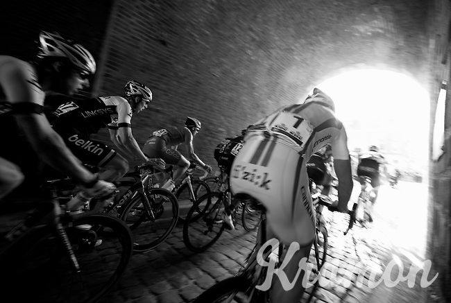 last years winner Peter Sagan (SVK/Cannondale) through the tunnel on top of the Casselberg<br /> <br /> Gent-Wevelgem 2014