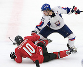 Etienne Froidevaux (SC Bern - Switzerland) and Jakub Rumpel (Medicine Hat Tigers - Slovakia) battle for the puck. The Suisse defeated Slovakia 2-1 in a 2007 World Juniors match on January 2, 2007, at FM Mattson Arena in Mora, Sweden.