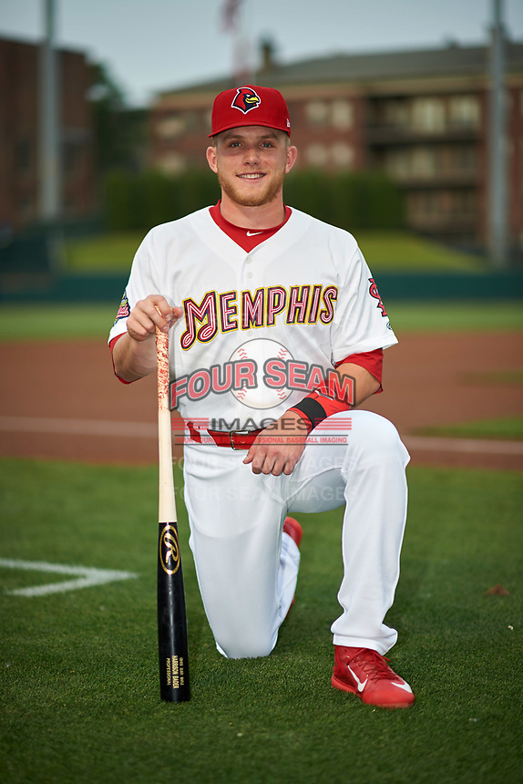 Memphis Redbirds left fielder Harrison Bader (3) poses for a photo before a game against the Round Rock Express on April 28, 2017 at AutoZone Park in Memphis, Tennessee.  Memphis defeated Round Rock 9-1.  (Mike Janes/Four Seam Images)