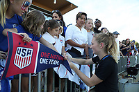 Cary, NC - Sunday October 22, 2017: Samantha Mewis signs an autograph after an International friendly match between the Women's National teams of the United States (USA) and South Korea (KOR) at Sahlen's Stadium at WakeMed Soccer Park. The U.S. won the game 6-0.