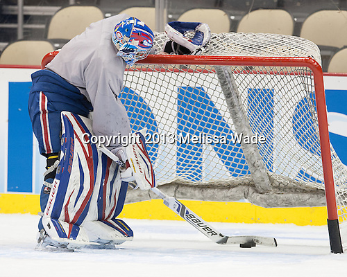 Brian Robbins (UML - 30) - The Frozen Four competitors practice at Pittsburgh's Consol Energy Center on Wednesday, April 10, 2013, in preparation for their semi-final games on Thursday.
