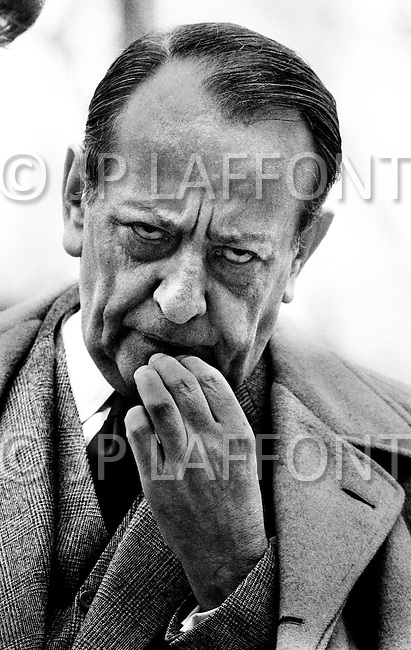 Chantilly, Virginia, USA. February 14th,1972. André Malraux arriving in Virginia at the Washington Dulles International Airport. During his visit he met and consulted American President Richard Nixon before leaving to China. Malraux is a French art theorist and novelist, who wrote the 1933 Prix Goncourt winning novel La Condition Humaine. He was the Minister for Cultural Affairs during Charles de Gaulle's presidency from 1959 to 1969.