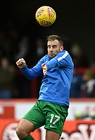 Preston's Tommy Spurr heads the ball during the pre-match warm-up <br /> <br /> Photographer Jonathan Hobley/CameraSport<br /> <br /> The EFL Sky Bet Championship - Brentford v Preston North End - Saturday 10th February 2018 - Griffin Park - Brentford<br /> <br /> World Copyright &copy; 2018 CameraSport. All rights reserved. 43 Linden Ave. Countesthorpe. Leicester. England. LE8 5PG - Tel: +44 (0) 116 277 4147 - admin@camerasport.com - www.camerasport.com