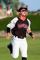 Wisconsin Timber Rattlers outfielder Tristen Lutz (21) warms up in the outfield prior to a Midwest League game against the Clinton LumberKings on June 29, 2018 at Fox Cities Stadium in Appleton, Wisconsin. Clinton defeated Wisconsin 9-7. (Brad Krause/Four Seam Images)