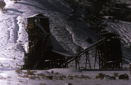Winter view of a mining structure.