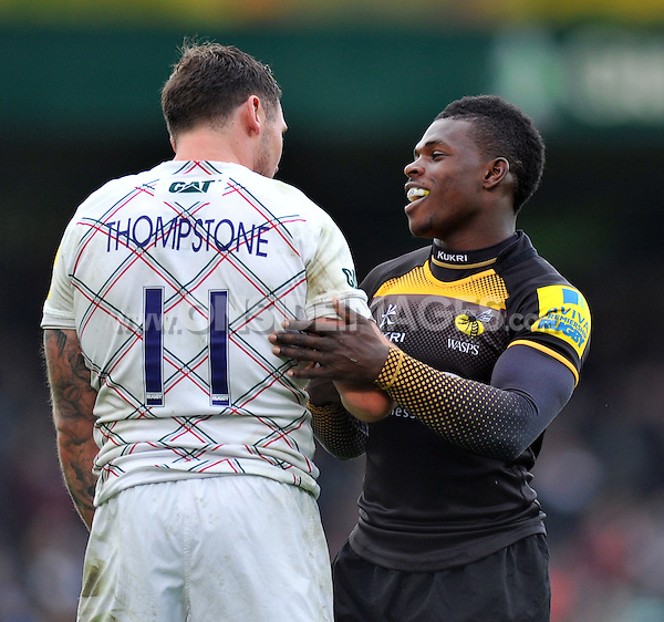 Adam Thompstone and Christian Wade have a chat after the final whistle. Aviva Premiership match, between London Wasps and Leicester Tigers on October 27, 2013 at Adams Park in High Wycombe, England. Photo by: Patrick Khachfe / JMP