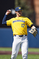 Michigan Wolverines third baseman Drew Lugbauer (17) in action against the Illinois Fighting Illini during the NCAA baseball game on April 8, 2017 at Ray Fisher Stadium in Ann Arbor, Michigan. Michigan defeated Illinois 7-0. (Andrew Woolley/Four Seam Images)