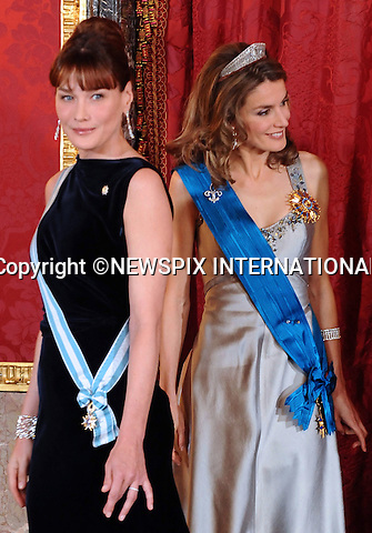 """CARLA BRUNI AND CROWN PRINCESS LETIZIA OF SPAIN.at the Gala hosted by King Juan Carlos, Queen Sofia, Zarzuela Palace, Madrid_27/4/2009.Mandatory Credit Photo: ©NEWSPIX INTERNATIONAL..**ALL FEES PAYABLE TO: """"NEWSPIX INTERNATIONAL""""**..IMMEDIATE CONFIRMATION OF USAGE REQUIRED:.Newspix International, 31 Chinnery Hill, Bishop's Stortford, ENGLAND CM23 3PS.Tel:+441279 324672  ; Fax: +441279656877.Mobile:  07775681153.e-mail: info@newspixinternational.co.uk"""